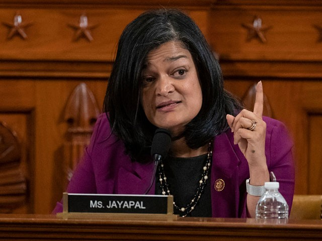 WASHINGTON, DC - DECEMBER 12: Representative Pramila Jayapal, a Democrat from Washington, speaks during a House Judiciary Committee hearing December 12, 2019 in Washington, DC. The articles of impeachment charge Trump with abuse of power and obstruction of Congress. House Democrats claim that Trump posed a 'clear and present danger' to national security and the 2020 election in his dealings with Ukraine over the past year. (Photo by Alex Edelman -Pool/Getty Images)